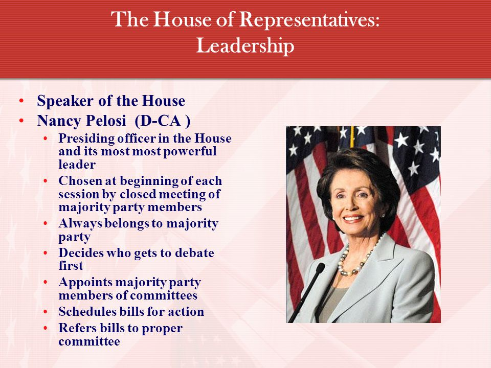 The House of Representatives: Leadership Speaker of the House Nancy Pelosi (D-CA ) Presiding officer in the House and its most most powerful leader Chosen at beginning of each session by closed meeting of majority party members Always belongs to majority party Decides who gets to debate first Appoints majority party members of committees Schedules bills for action Refers bills to proper committee