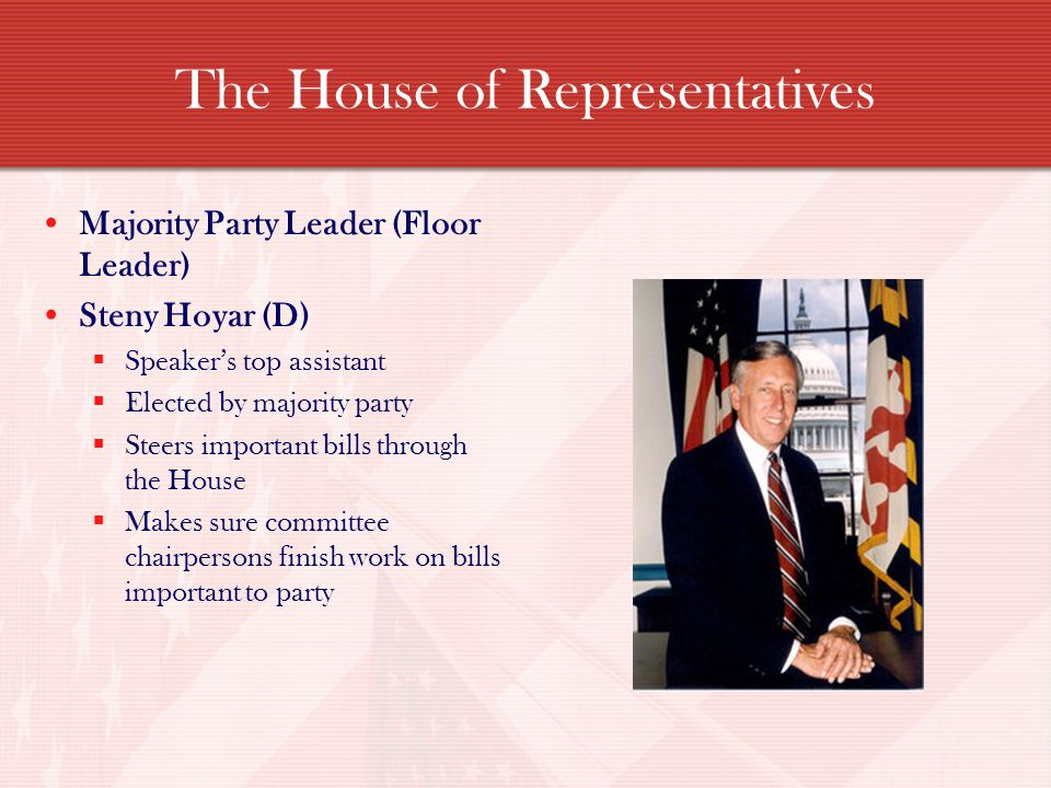 The House of Representatives Majority Party Leader (Floor Leader) Steny Hoyar (D) Speakers top assistant Elected by majority party Steers important bills through the House Makes sure committee chairpersons finish work on bills important to party
