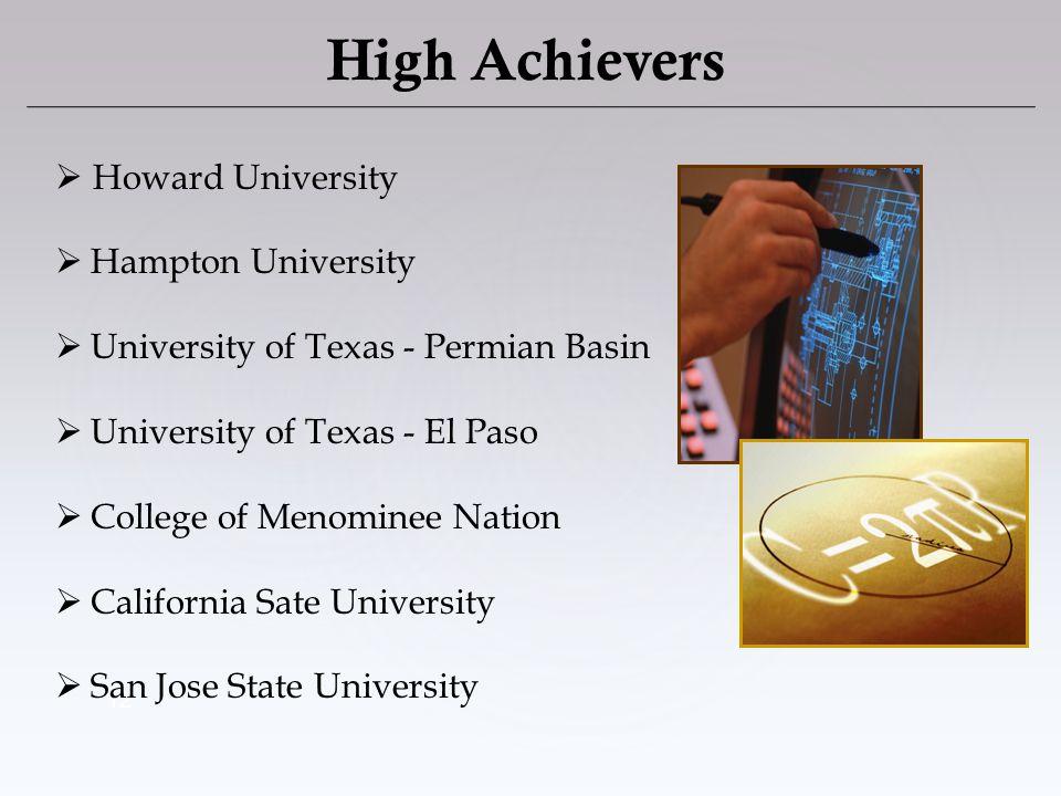 12 High Achievers Howard University Hampton University University of Texas - Permian Basin University of Texas - El Paso College of Menominee Nation C