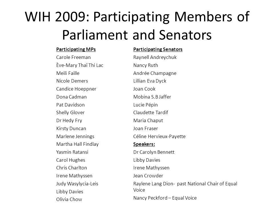 WIH 2009: Participating Members of Parliament and Senators Participating MPs Carole Freeman Ève-Mary Thaï Thi Lac Meili Faille Nicole Demers Candice Hoeppner Dona Cadman Pat Davidson Shelly Glover Dr Hedy Fry Kirsty Duncan Marlene Jennings Martha Hall Findlay Yasmin Ratansi Carol Hughes Chris Charlton Irene Mathyssen Judy Wasylycia-Leis Libby Davies Olivia Chow Participating Senators Raynell Andreychuk Nancy Ruth Andrée Champagne Lillian Eva Dyck Joan Cook Mobina S.B Jaffer Lucie Pépin Claudette Tardif Maria Chaput Joan Fraser Céline Hervieux-Payette Speakers: Dr Carolyn Bennett Libby Davies Irene Mathyssen Jean Crowder Raylene Lang Dion- past National Chair of Equal Voice Nancy Peckford – Equal Voice