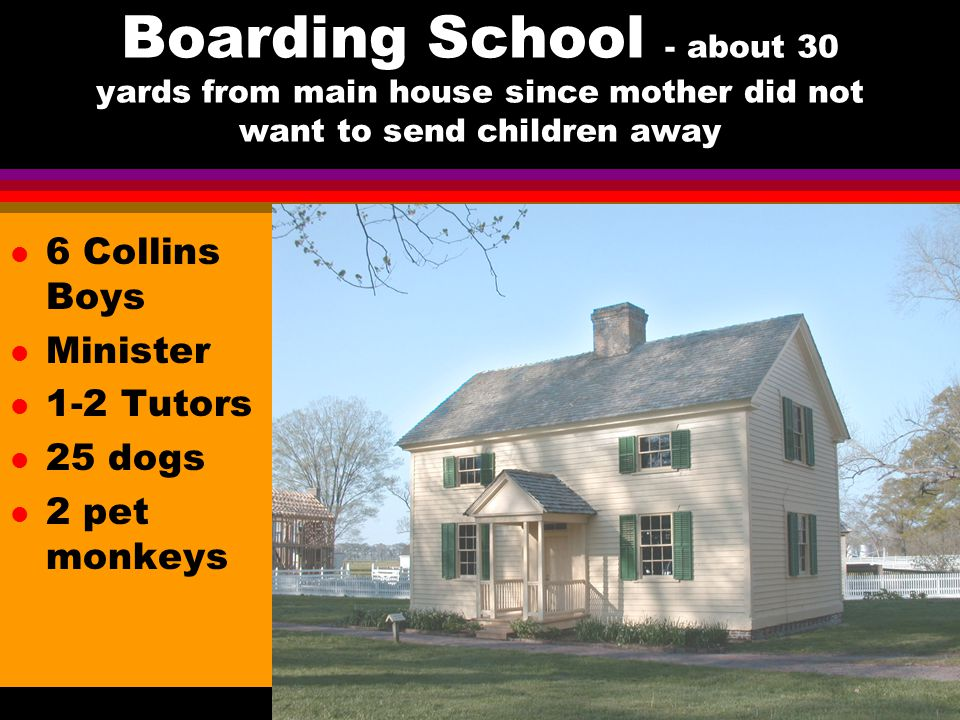 Boarding School - about 30 yards from main house since mother did not want to send children away l 6 Collins Boys l Minister l 1-2 Tutors l 25 dogs l 2 pet monkeys