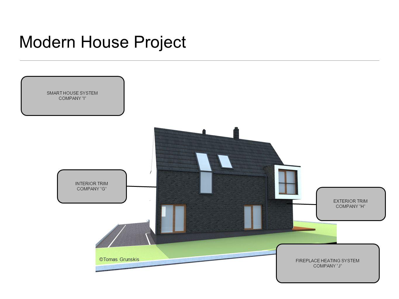 Modern House Project INTERIOR TRIM COMPANY G EXTERIOR TRIM COMPANY H SMART HOUSE SYSTEM COMPANY I FIREPLACE HEATING SYSTEM COMPANY J ©Tomas Grunskis