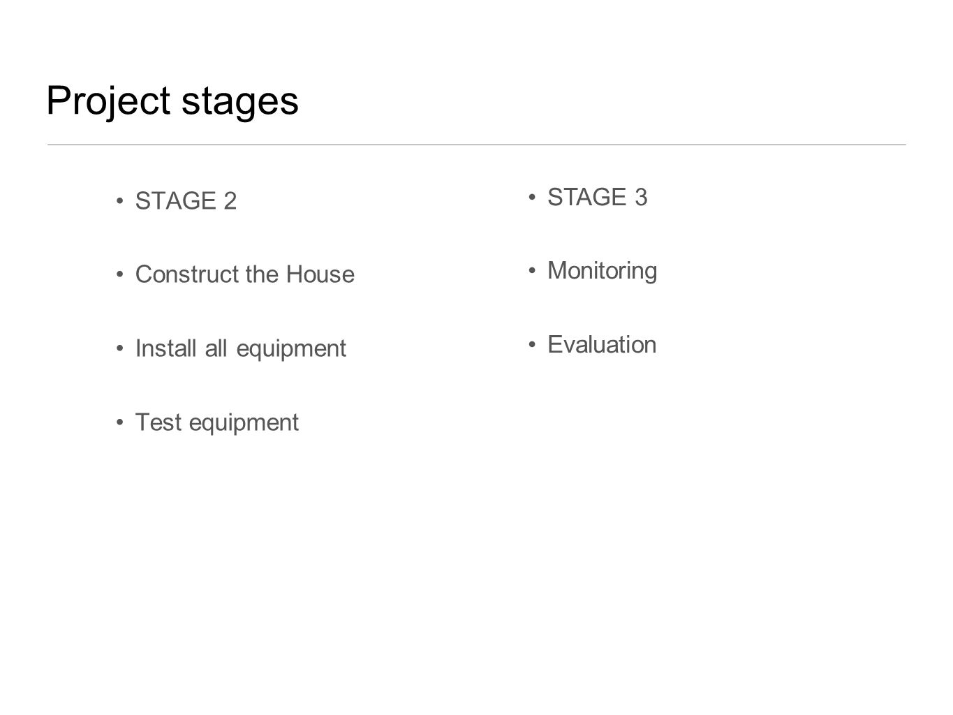 Project stages STAGE 2 Construct the House Install all equipment Test equipment STAGE 3 Monitoring Evaluation