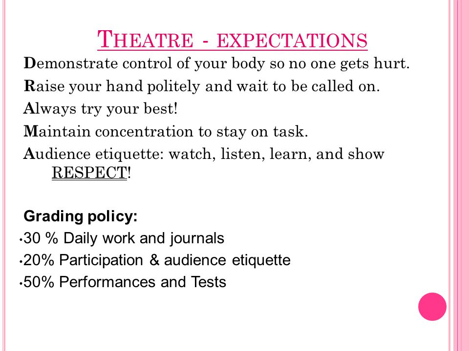T HEATRE - EXPECTATIONS D emonstrate control of your body so no one gets hurt.