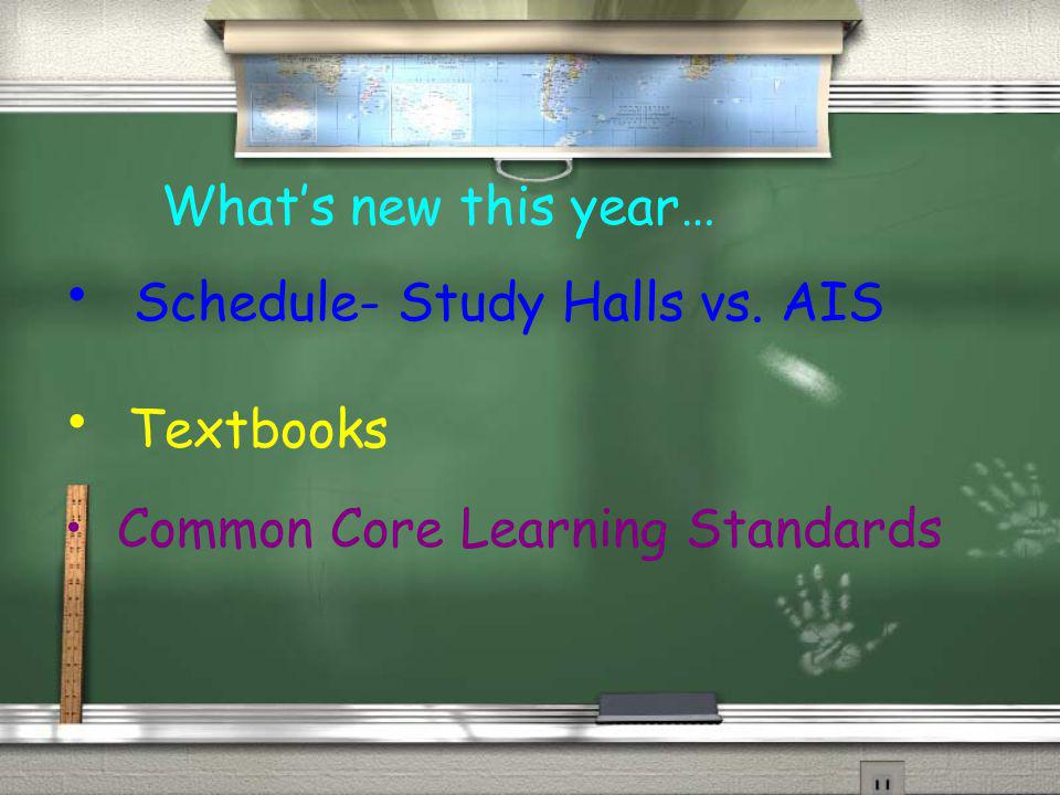 Whats new this year… Schedule- Study Halls vs. AIS Textbooks Common Core Learning Standards