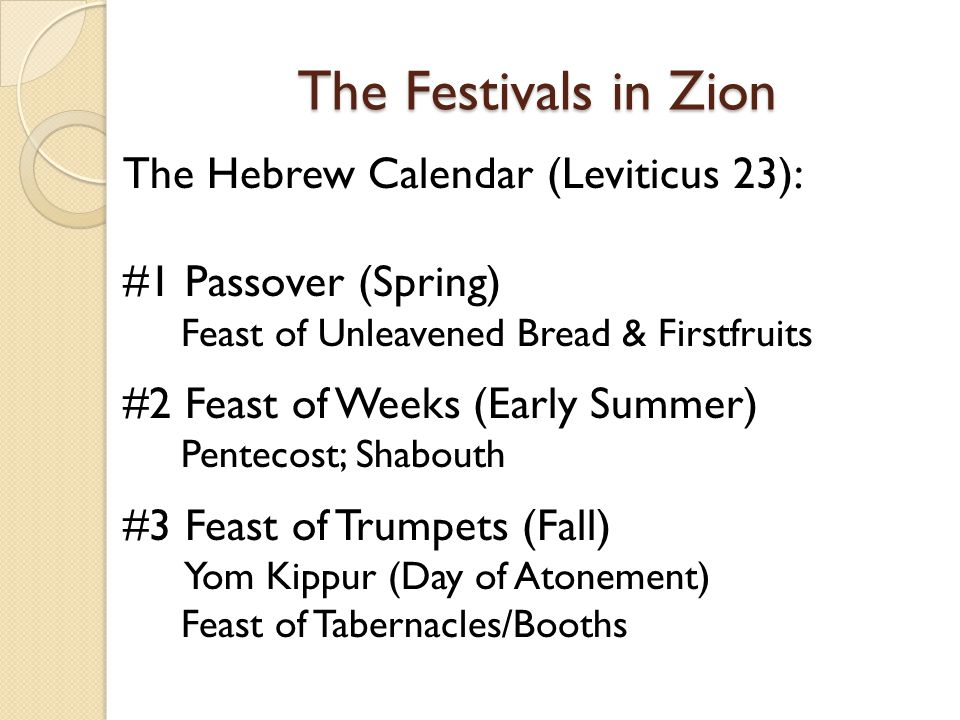The Festivals in Zion The Festivals in Zion The Hebrew Calendar (Leviticus 23): #1 Passover (Spring) Feast of Unleavened Bread & Firstfruits #2 Feast