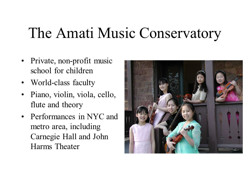 The Amati Music Conservatory Private, non-profit music school for children World-class faculty Piano, violin, viola, cello, flute and theory Performances in NYC and metro area, including Carnegie Hall and John Harms Theater