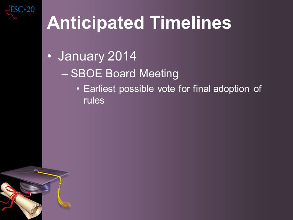 Anticipated Timelines January 2014 –SBOE Board Meeting Earliest possible vote for final adoption of rules