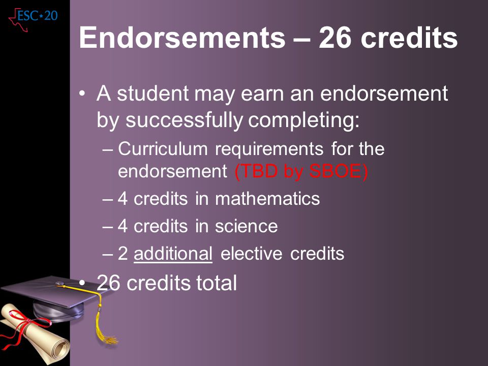 Endorsements – 26 credits A student may earn an endorsement by successfully completing: –Curriculum requirements for the endorsement (TBD by SBOE) –4
