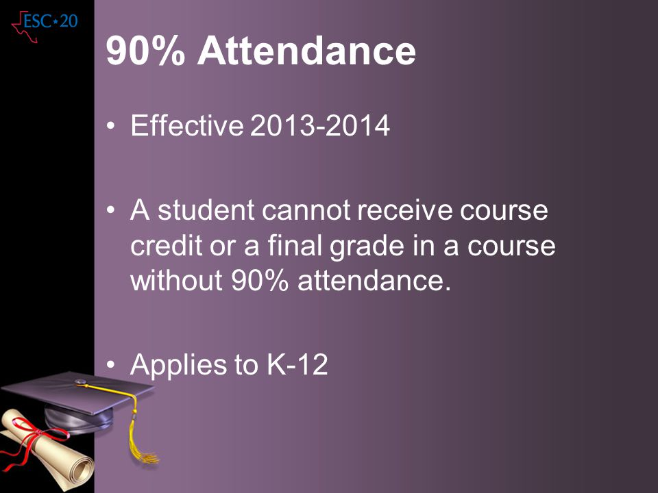 90% Attendance Effective 2013-2014 A student cannot receive course credit or a final grade in a course without 90% attendance. Applies to K-12