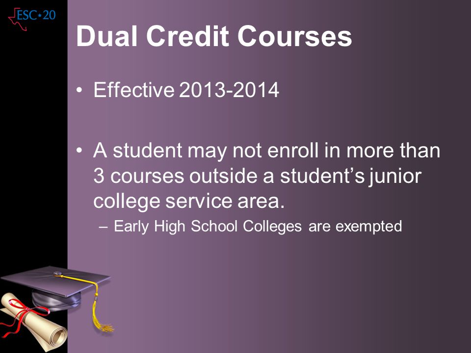 Dual Credit Courses Effective 2013-2014 A student may not enroll in more than 3 courses outside a students junior college service area. –Early High Sc