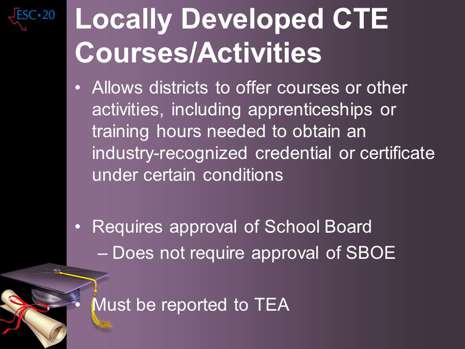 Locally Developed CTE Courses/Activities Allows districts to offer courses or other activities, including apprenticeships or training hours needed to