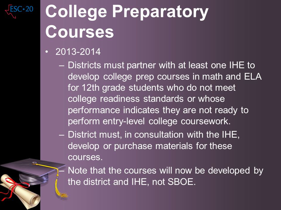 College Preparatory Courses 2013-2014 –Districts must partner with at least one IHE to develop college prep courses in math and ELA for 12th grade stu