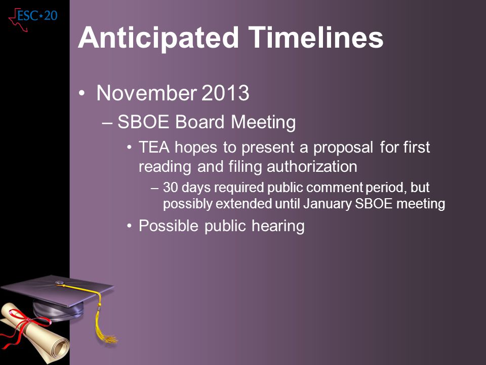 Anticipated Timelines November 2013 –SBOE Board Meeting TEA hopes to present a proposal for first reading and filing authorization –30 days required p