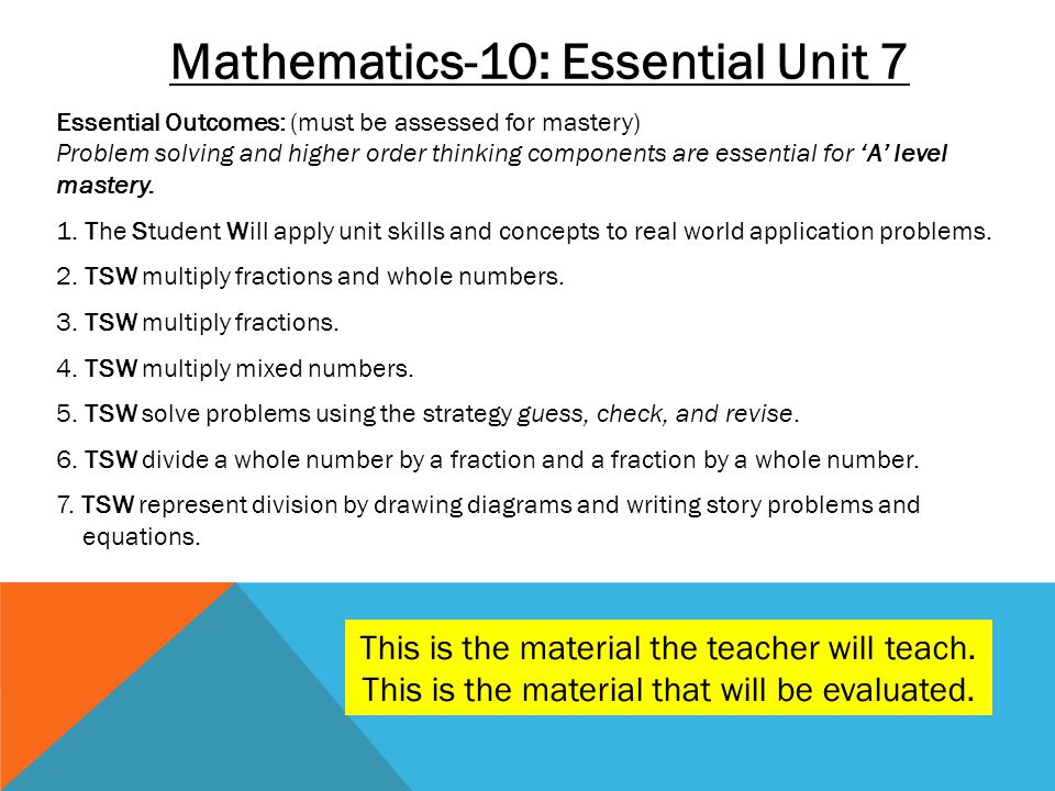 Mathematics-10: Essential Unit 7 Essential Outcomes: (must be assessed for mastery) Problem solving and higher order thinking components are essential
