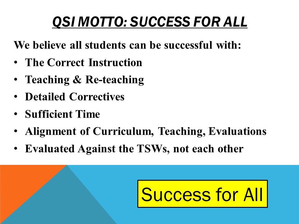 QSI MOTTO: SUCCESS FOR ALL We believe all students can be successful with: The Correct Instruction Teaching & Re-teaching Detailed Correctives Suffici