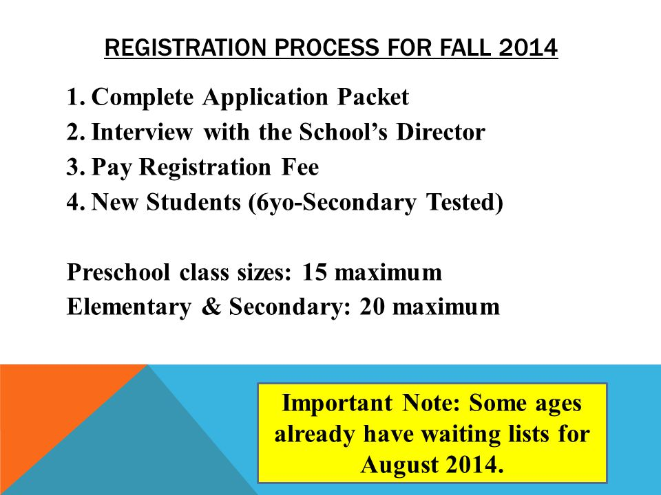 REGISTRATION PROCESS FOR FALL 2014 1.Complete Application Packet 2.Interview with the Schools Director 3.Pay Registration Fee 4.New Students (6yo-Seco