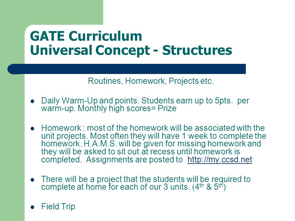 GATE Curriculum Universal Concept - Structures Routines, Homework, Projects etc.