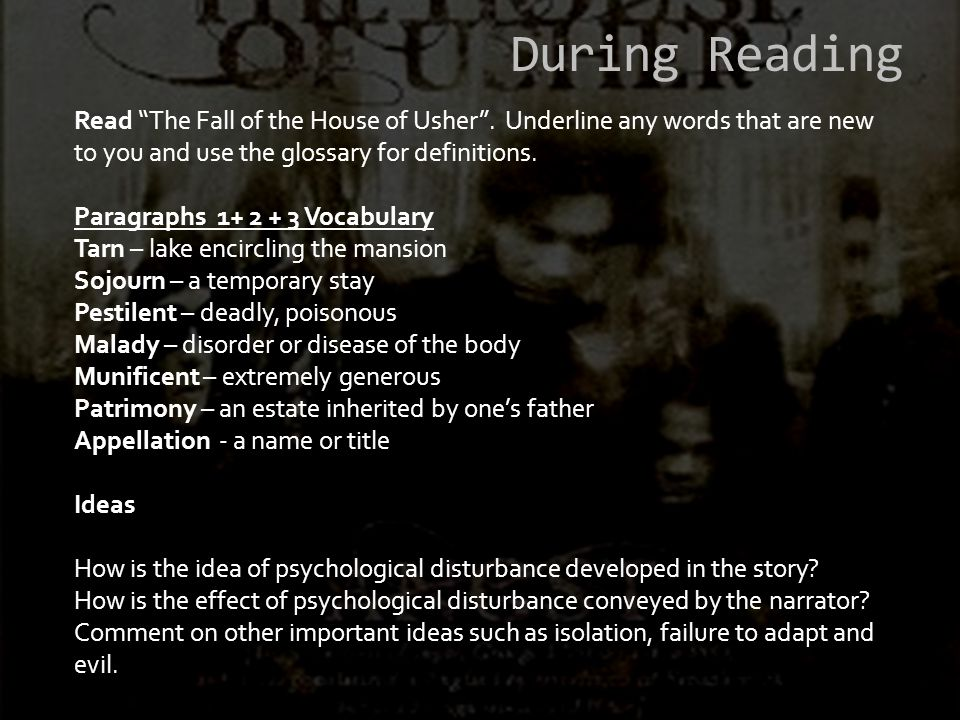 IDEAS Psychological Disturbance How is it developed in the story?How is the effect conveyed by the narrator.