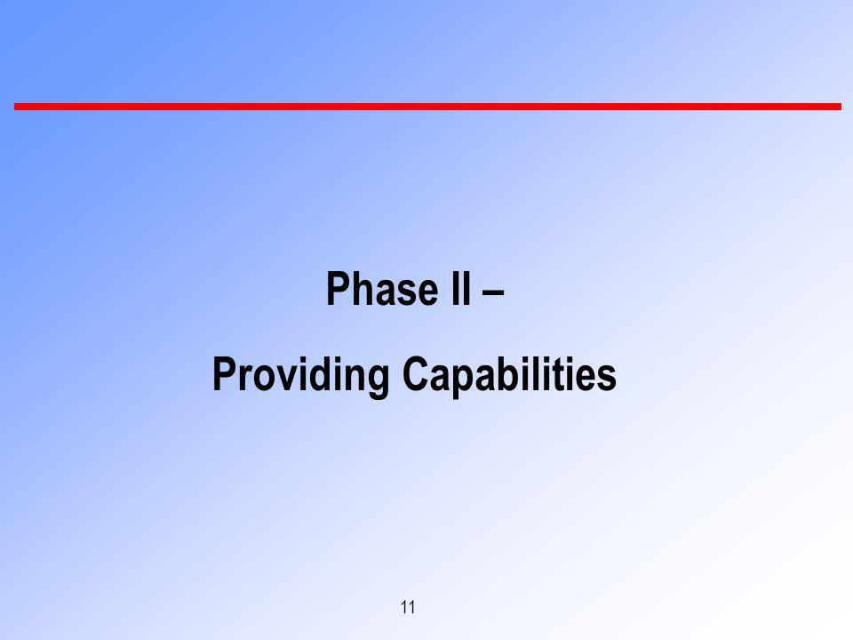 11 Phase II – Providing Capabilities