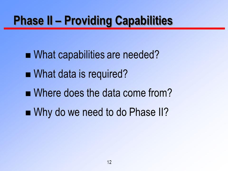 12 n What capabilities are needed? n What data is required? n Where does the data come from? n Why do we need to do Phase II? Phase II – Providing Cap