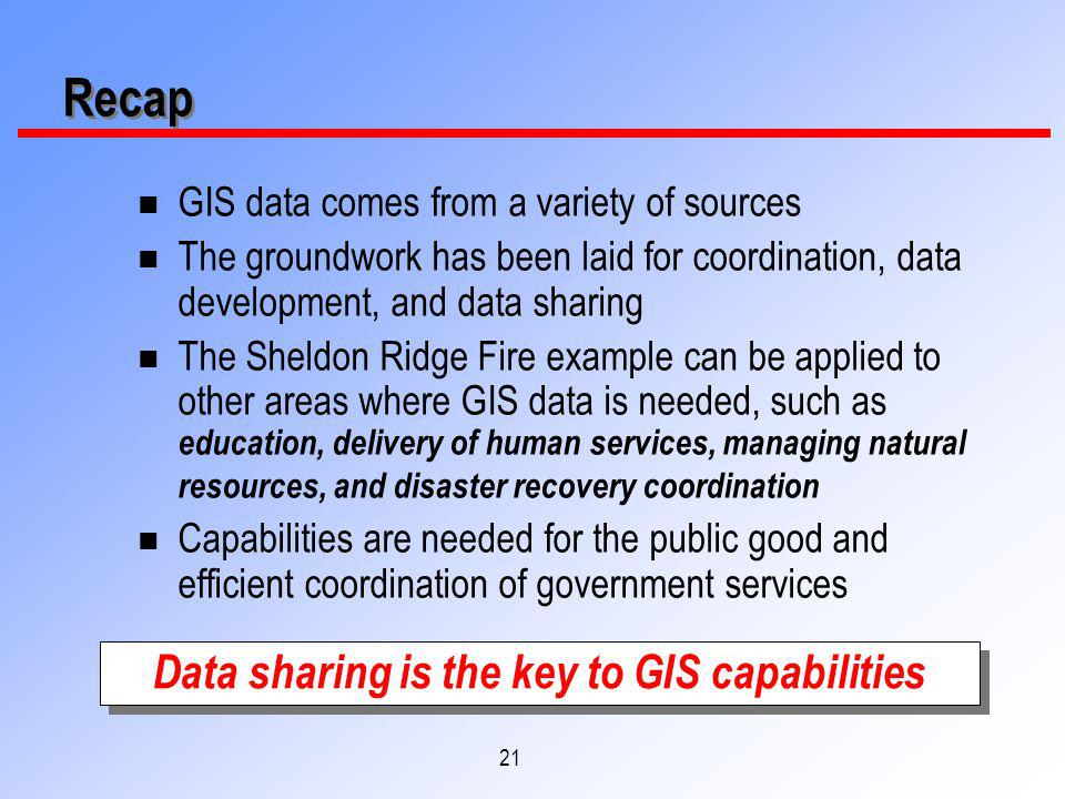 21 Recap n GIS data comes from a variety of sources n The groundwork has been laid for coordination, data development, and data sharing n The Sheldon