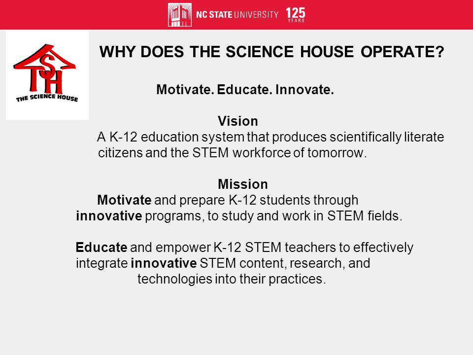 Motivate. Educate. Innovate. Vision A K-12 education system that produces scientifically literate citizens and the STEM workforce of tomorrow. Mission