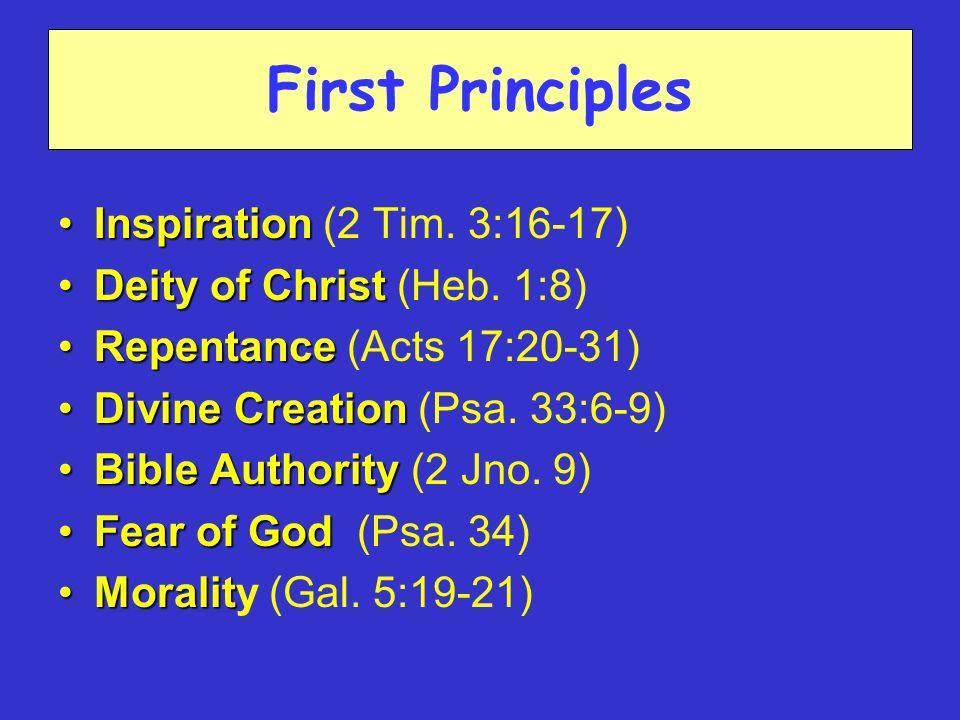 First Principles InspirationInspiration (2 Tim. 3:16-17) Deity of ChristDeity of Christ (Heb.