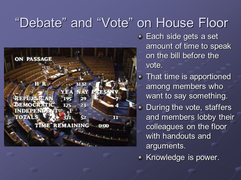 Debate and Vote on House Floor Each side gets a set amount of time to speak on the bill before the vote.
