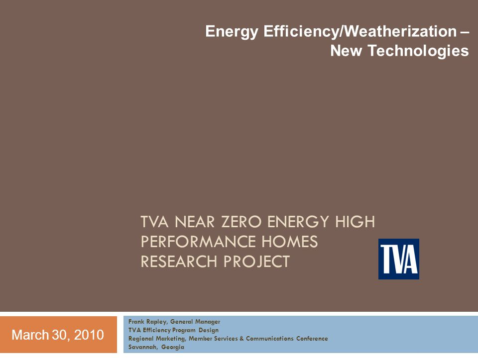 Todays Discussion TVA Campbell Creek Research Project Project Scope Simulated Occupancy Test Home Overview High Performance Home Features House 1 – Builder House House 2 – Retrofit House House 3 – Near Zero-Energy House Monitoring and Occupancy Simulation Evaluation Key Takeaways