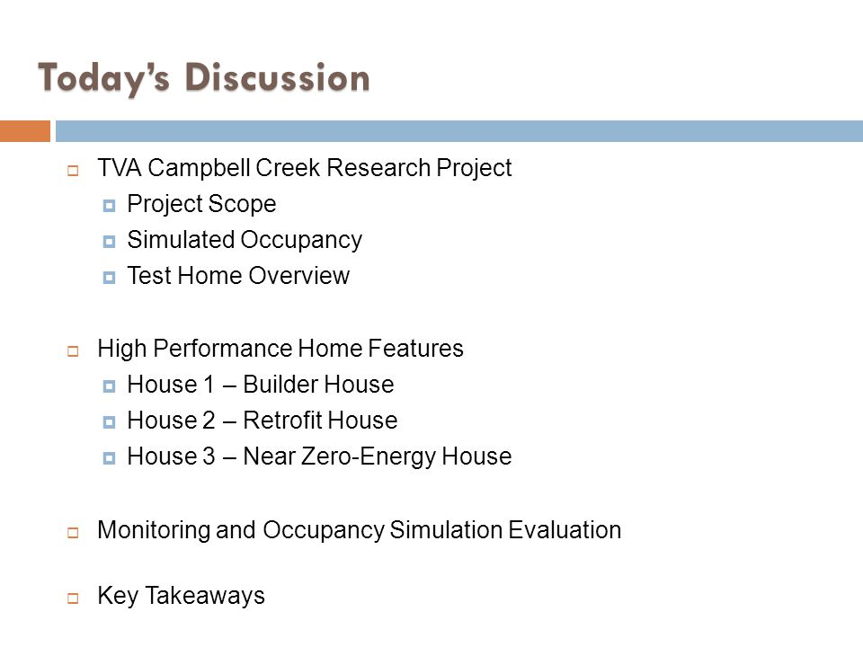 Todays Discussion TVA Campbell Creek Research Project Project Scope Simulated Occupancy Test Home Overview High Performance Home Features House 1 – Bu