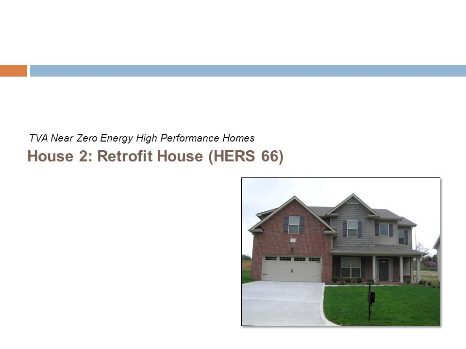 Cost: +$10,000 from base house for retrofits described below Same construction as House 1 (Builder House), but retrofitted with energy efficiency technologies that an existing homeowner could add to improve efficiency Major retrofits include: low-e, gas-filled windows; sealed, insulated attic; 100% CFL; smaller (3 ton versus 4 ton), higher SEER (16 versus 13) heat pump; and heat pump water heater Projected to use two-thirds of the energy of a new house built to code Blower door test - 3.4 ACH at 50 Pascal