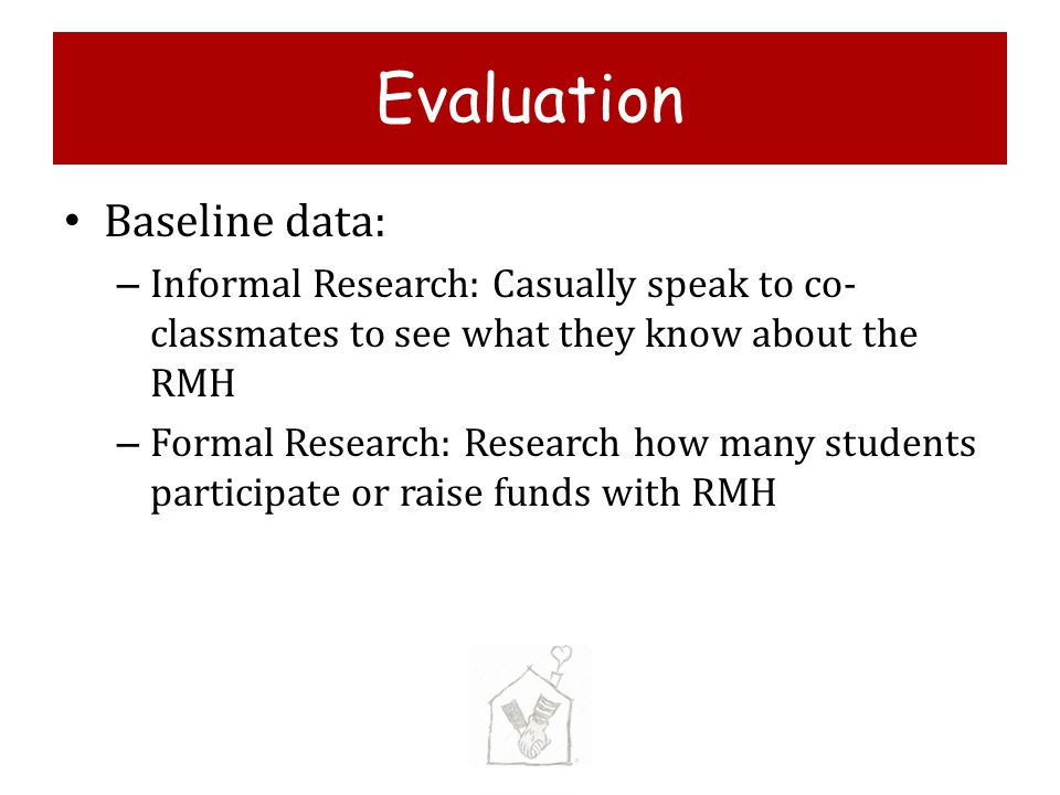 Evaluation Baseline data: – Informal Research: Casually speak to co- classmates to see what they know about the RMH – Formal Research: Research how many students participate or raise funds with RMH