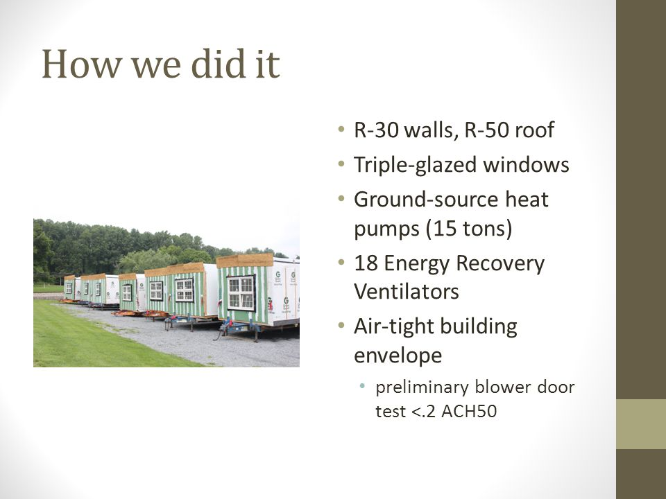 How we did it R-30 walls, R-50 roof Triple-glazed windows Ground-source heat pumps (15 tons) 18 Energy Recovery Ventilators Air-tight building envelope preliminary blower door test <.2 ACH50