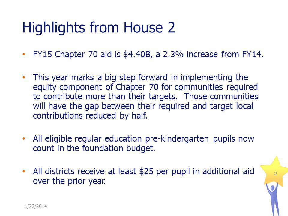 Highlights from House 2 2 FY15 Chapter 70 aid is $4.40B, a 2.3% increase from FY14.