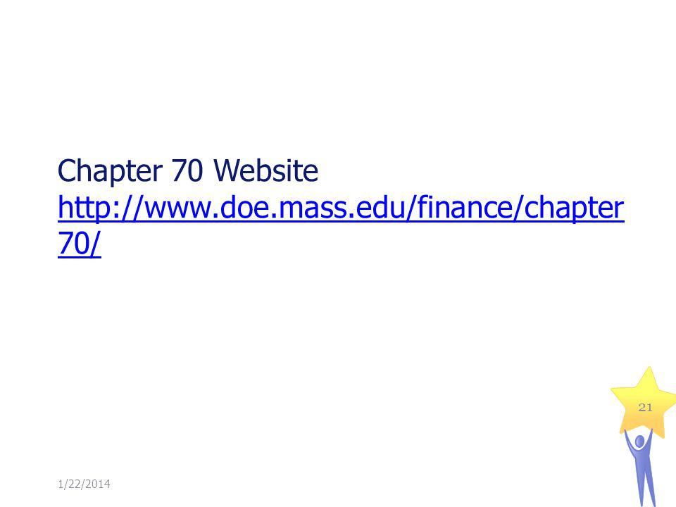 Chapter 70 Website http://www.doe.mass.edu/finance/chapter 70/ http://www.doe.mass.edu/finance/chapter 70/ 1/22/2014 21