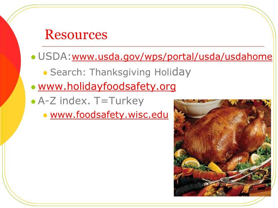 Resources USDA: www.usda.gov/wps/portal/usda/usdahome www.usda.gov/wps/portal/usda/usdahome Search: Thanksgiving Holi day www.holidayfoodsafety.org A-Z index.