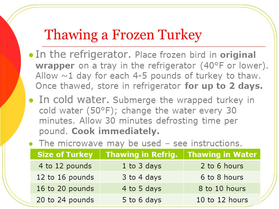 Thawing a Frozen Turkey In the refrigerator. Place frozen bird in original wrapper on a tray in the refrigerator (40°F or lower). Allow ~1 day for eac