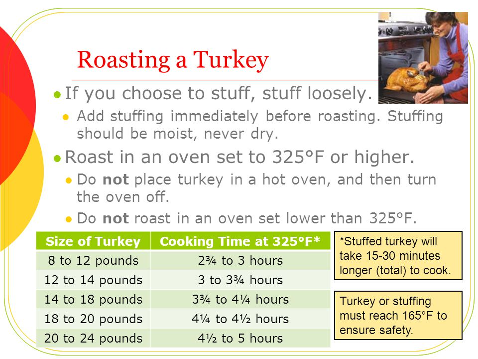 Roasting a Turkey If you choose to stuff, stuff loosely. Add stuffing immediately before roasting. Stuffing should be moist, never dry. Roast in an ov