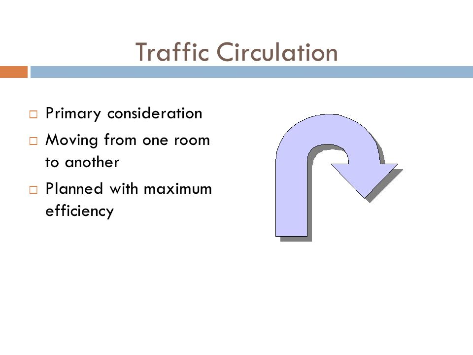 Traffic Circulation Primary consideration Moving from one room to another Planned with maximum efficiency