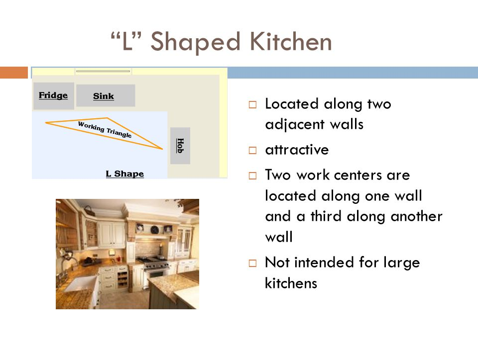 L Shaped Kitchen Located along two adjacent walls attractive Two work centers are located along one wall and a third along another wall Not intended f
