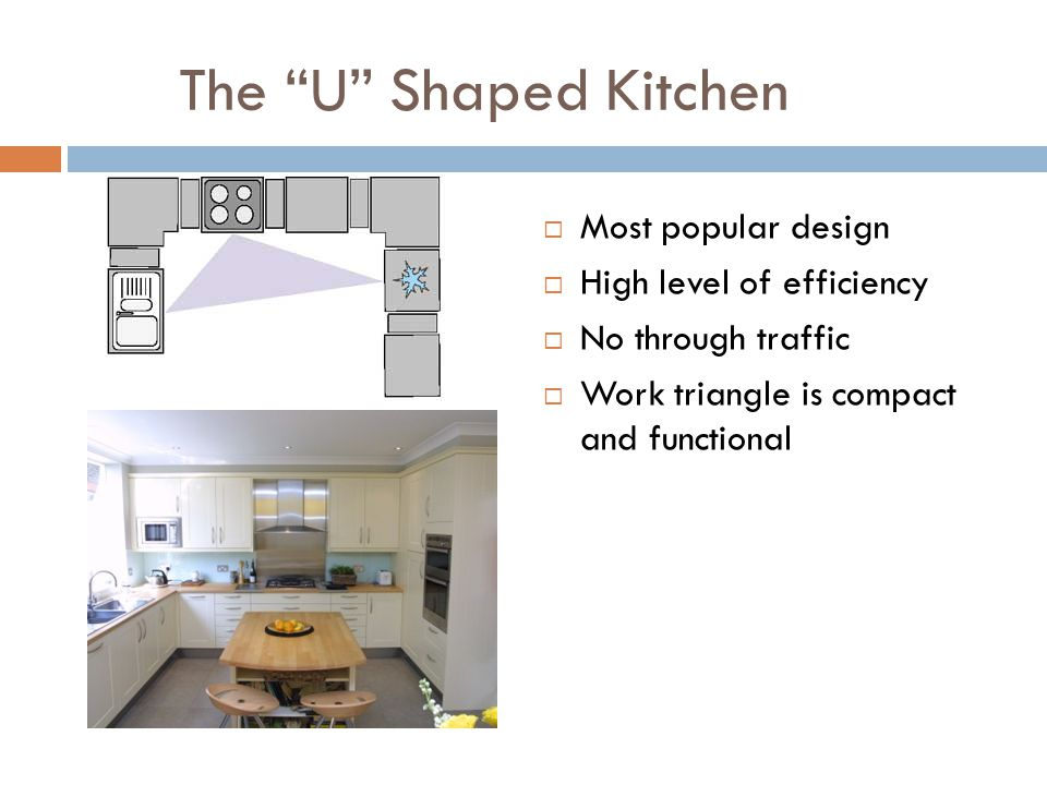 The U Shaped Kitchen Most popular design High level of efficiency No through traffic Work triangle is compact and functional