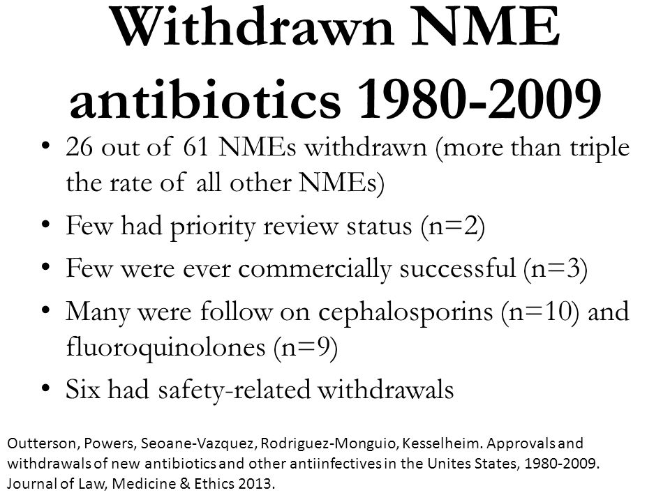 Withdrawn NME antibiotics 1980-2009 26 out of 61 NMEs withdrawn (more than triple the rate of all other NMEs) Few had priority review status (n=2) Few