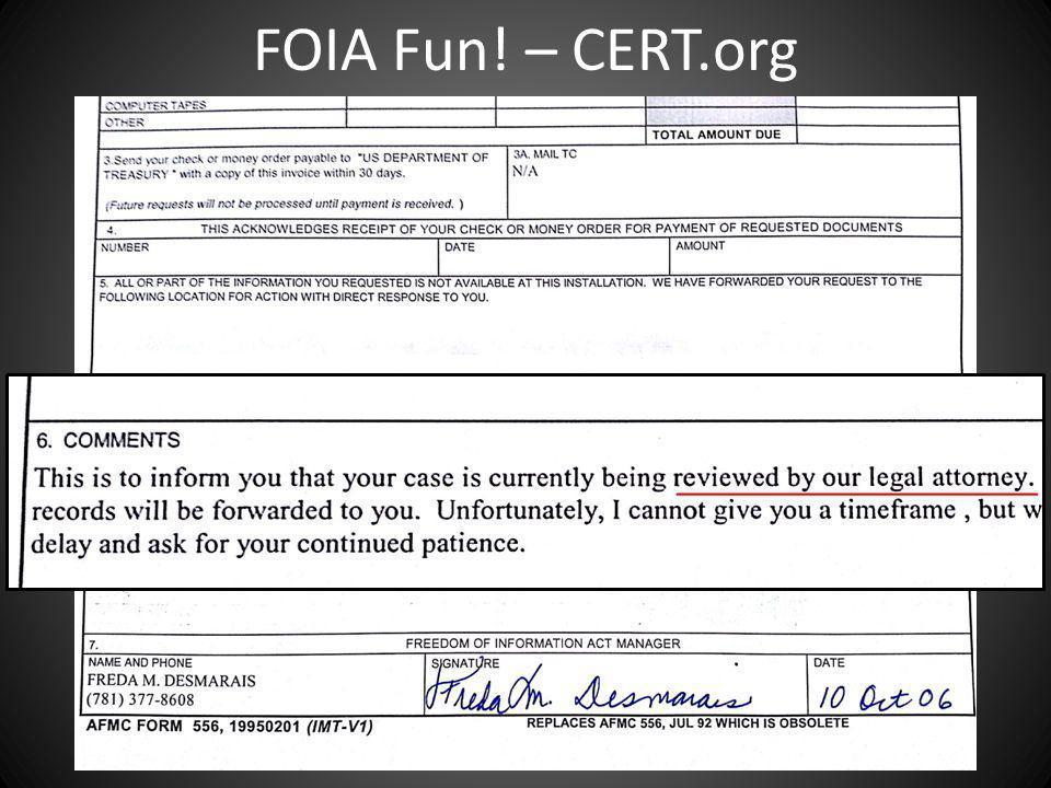 FOIA Fun! – CERT.org
