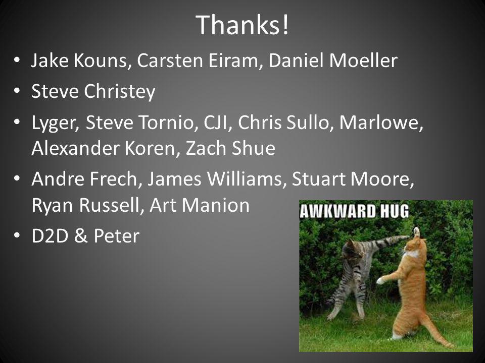 Thanks! Jake Kouns, Carsten Eiram, Daniel Moeller Steve Christey Lyger, Steve Tornio, CJI, Chris Sullo, Marlowe, Alexander Koren, Zach Shue Andre Frec