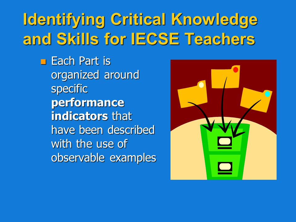 Parts of the PIECES n Part A: Requisite knowledge and skills related to ECSE service delivery n Part B: Communication skills and specialized knowledge related to coaching and information sharing in order to develop family, professional, and community relationships that support learning in the pre-K LRE n Part C: Specialized knowledge to coordinate and facilitate integrated service delivery (embedded instruction) to support learning in the LRE