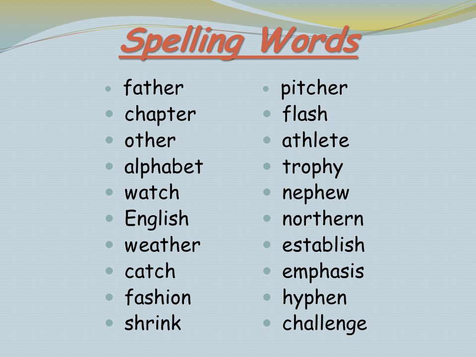 Spelling Words father chapter other alphabet watch English weather catch fashion shrink pitcher flash athlete trophy nephew northern establish emphasi
