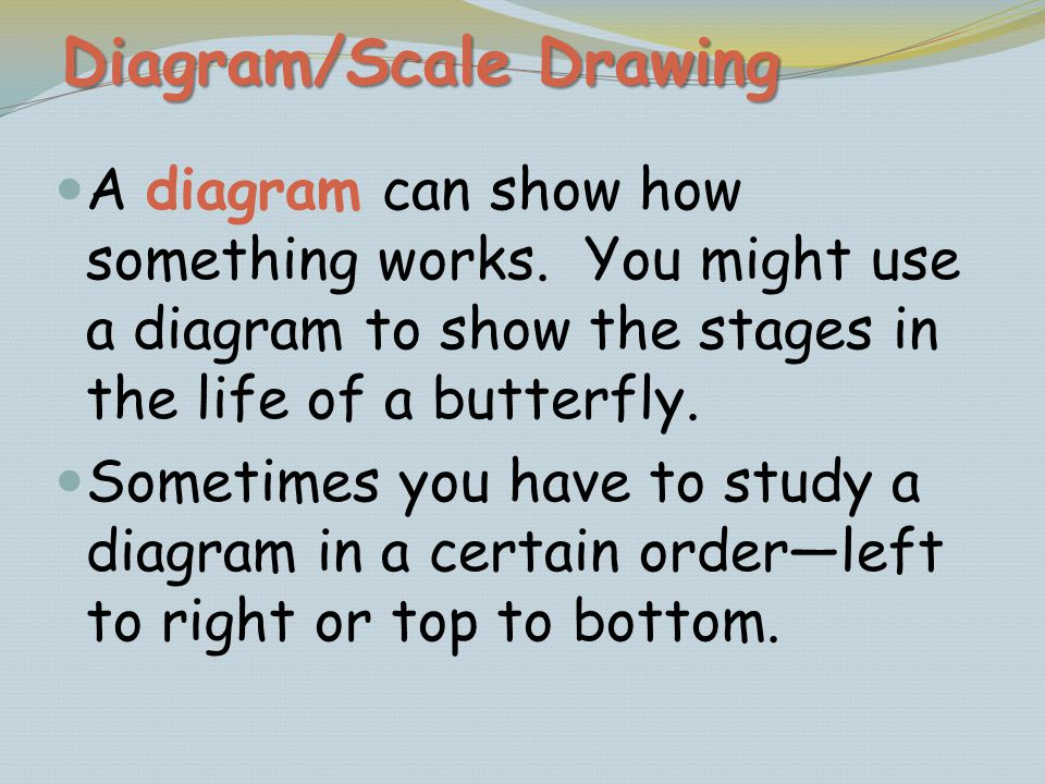 A diagram can show how something works. You might use a diagram to show the stages in the life of a butterfly. Sometimes you have to study a diagram i