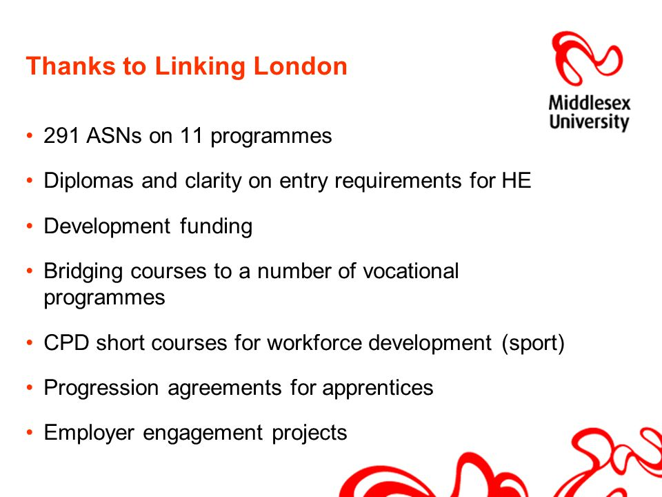 Thanks to Linking London 291 ASNs on 11 programmes Diplomas and clarity on entry requirements for HE Development funding Bridging courses to a number