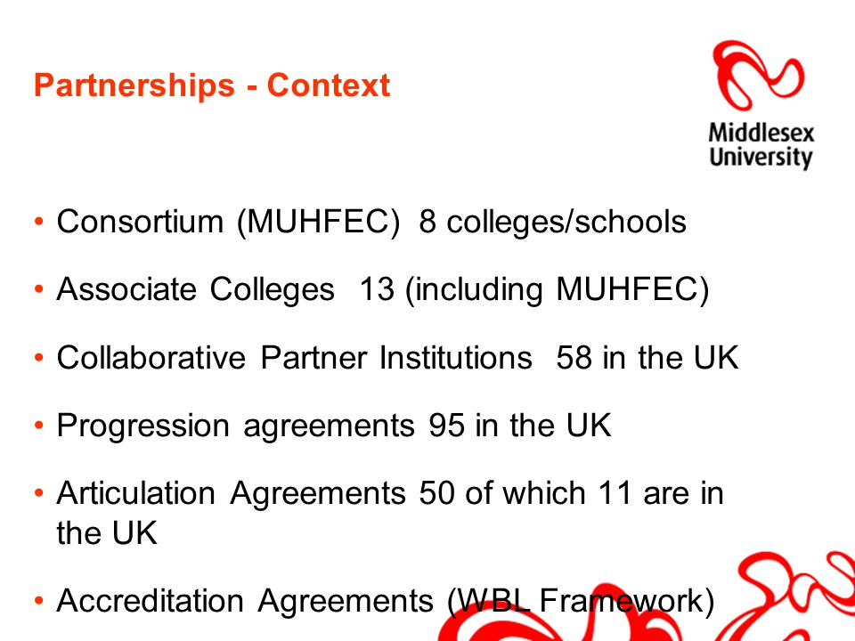Partnerships - Context Consortium (MUHFEC) 8 colleges/schools Associate Colleges 13 (including MUHFEC) Collaborative Partner Institutions 58 in the UK Progression agreements 95 in the UK Articulation Agreements 50 of which 11 are in the UK Accreditation Agreements (WBL Framework)